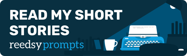 A blue banner featuring a typewriter and mug on a desk illuminated by a lamp. White text says 'READ MY SHORT STORIES' in all capital letters, with reedsyprompts written below in lowercase letters