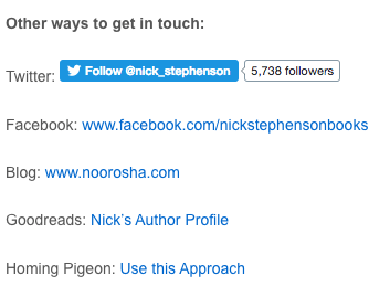Homing pigeon Nick Stephenson author website