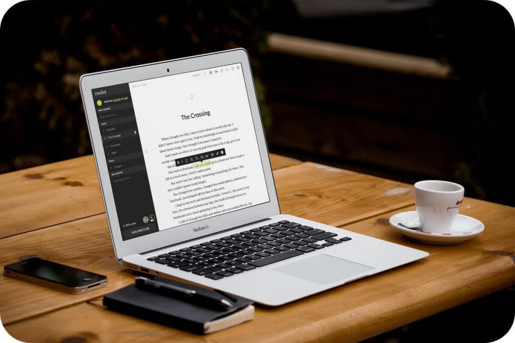 Reedsy Book Editor writing tool header