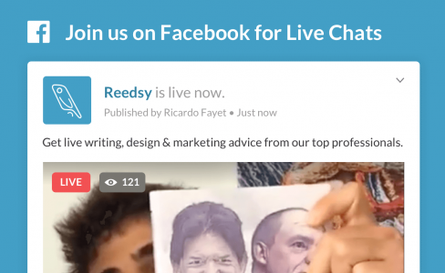 Reedsy live chat header, get live writing and marketing advice