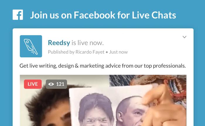 Reedsy Live chat header