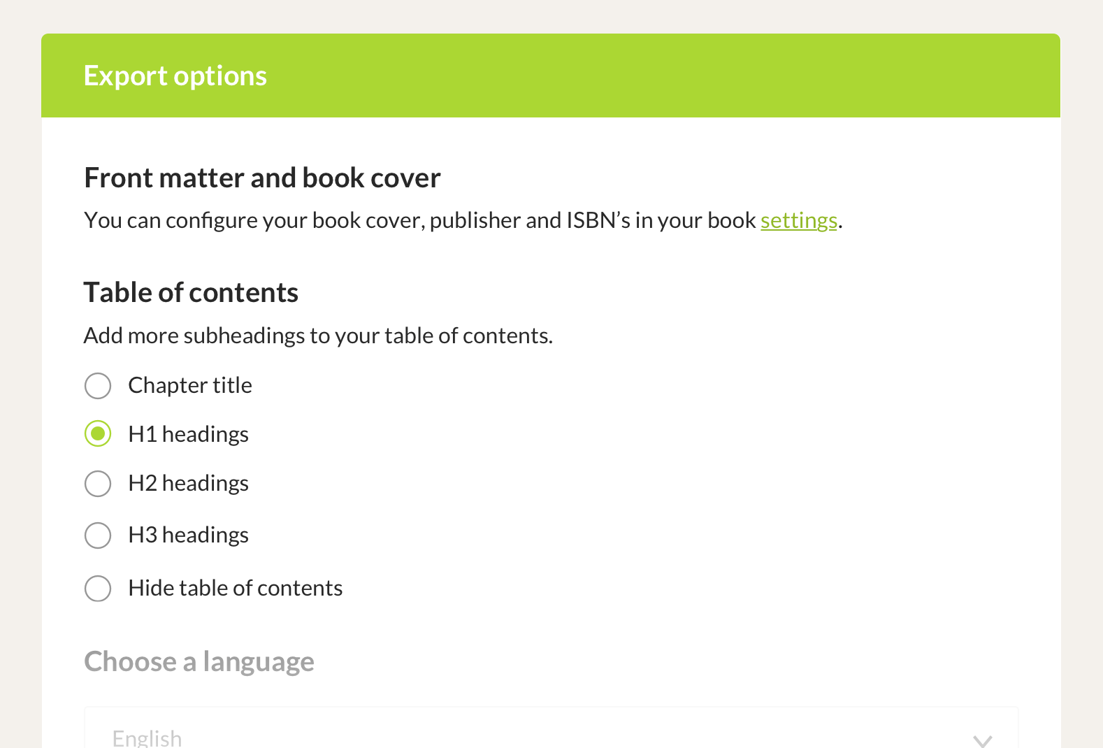 Customize the Table of Contents of your book