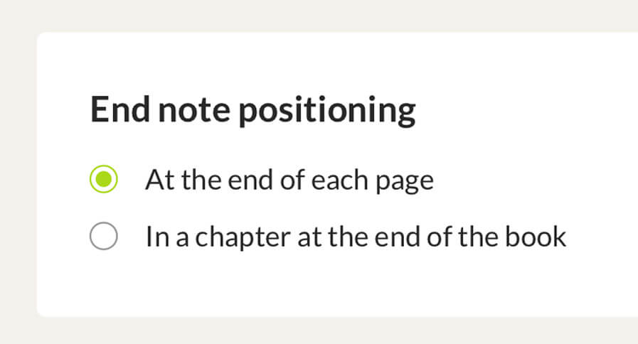 End note positioning for PDF print books: at the end of a page or the book