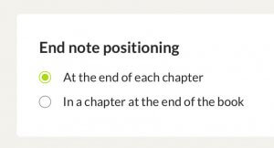 End note positioning ePub