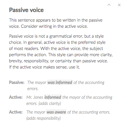 Passive Voice Grammarly Tips