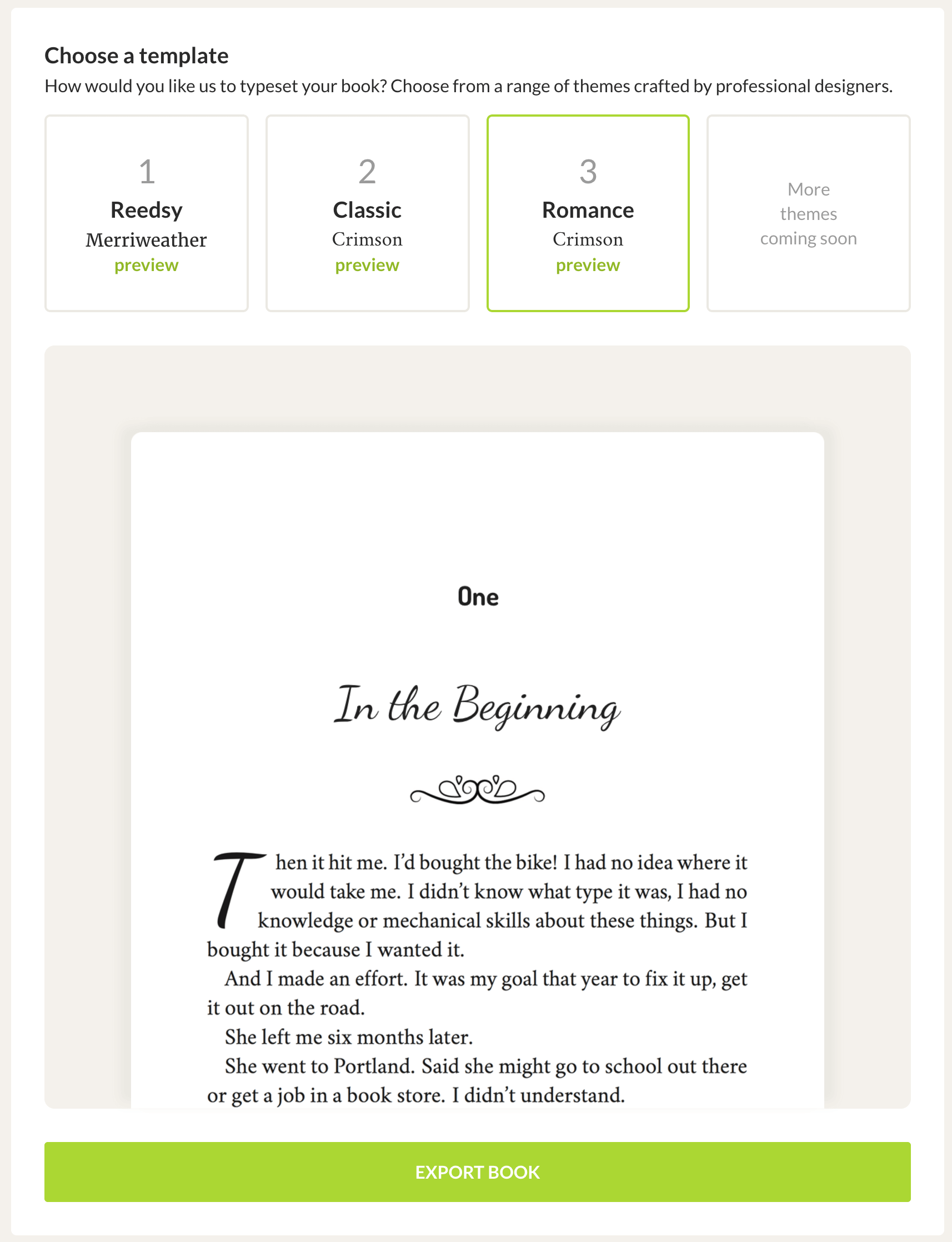 romance book template preview