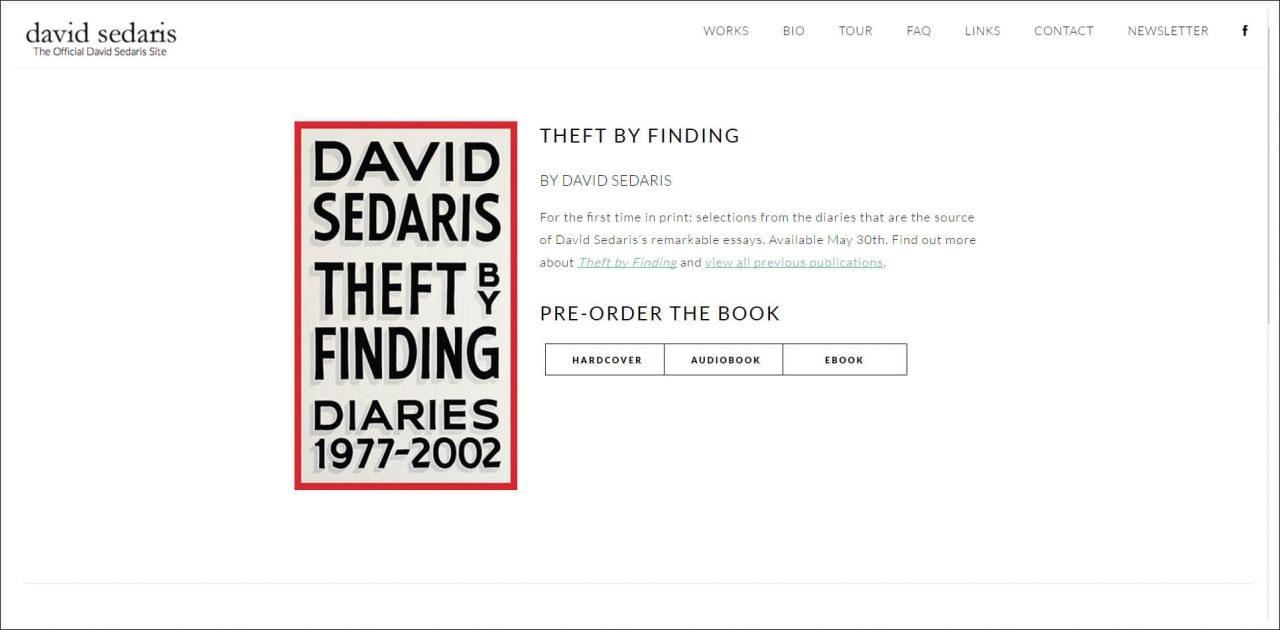 11 Author Websites That Get It Right - David Sedaris