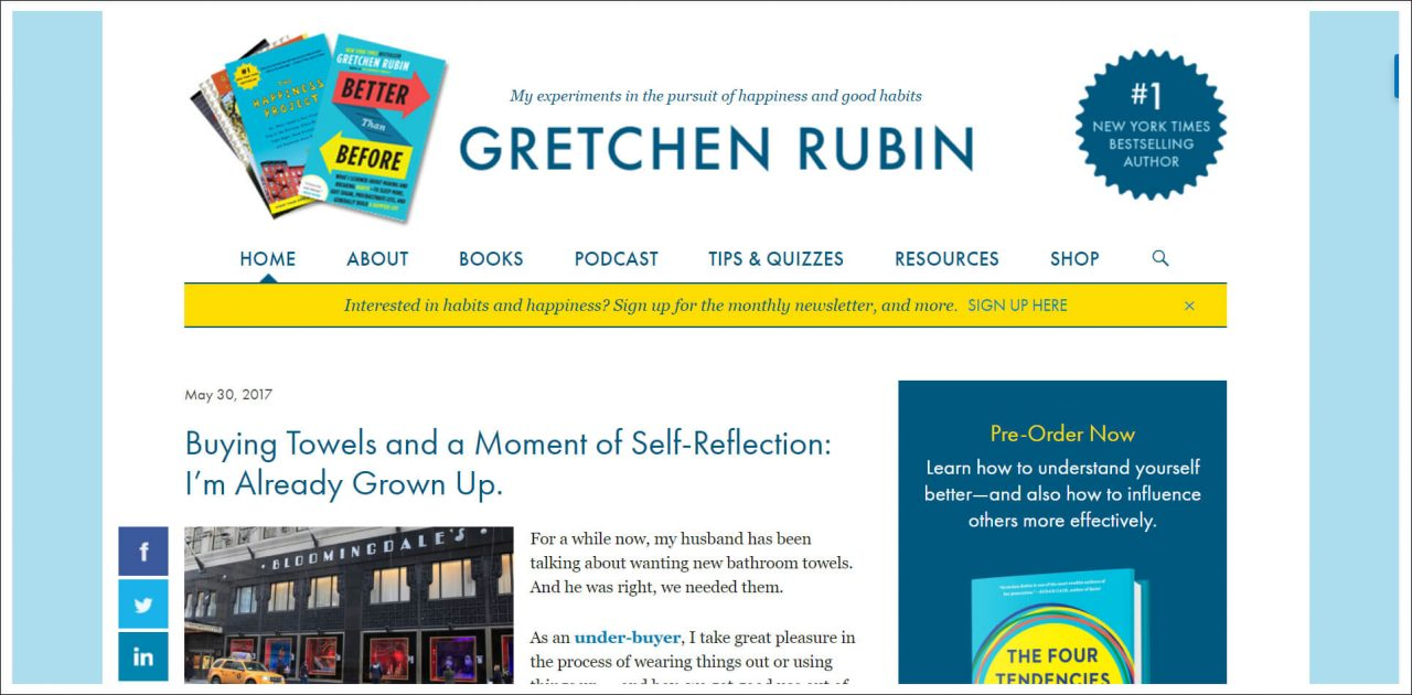 11 Author Websites That Get It Right - Gretchen Rubin