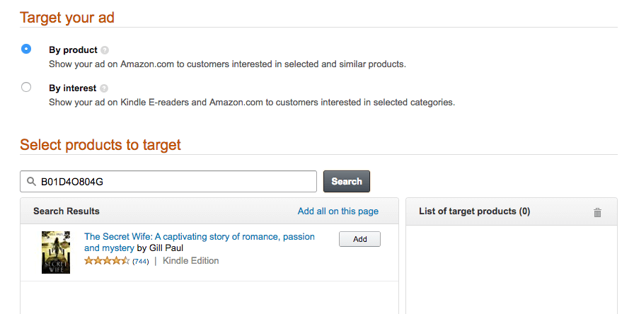 Amazon Ads for Authors | Select Product for Display Ads