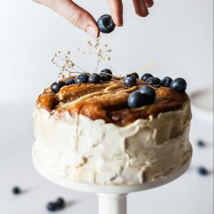 White cake with blueberries - how to publish a cookbook