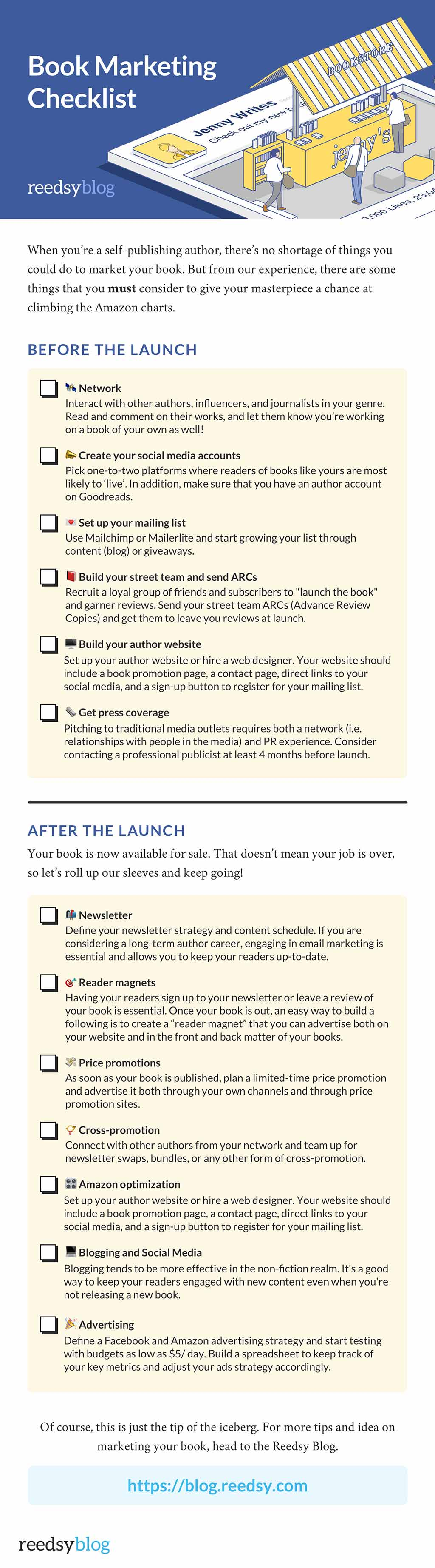 Reedsy Book Marketing Ideas Checklist
