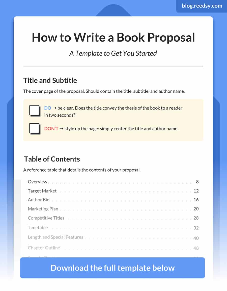 how to write a book proposal template
