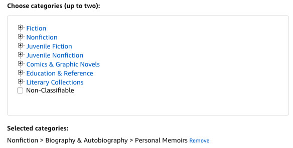 Categories you can select when self-publishing on Amazon