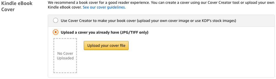 Amazon Self-Publishing | Upload a Book Cover