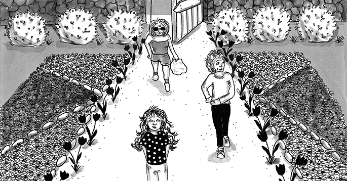 an illustration of Amy Kurzweil walking in the park with her grandmother and mother