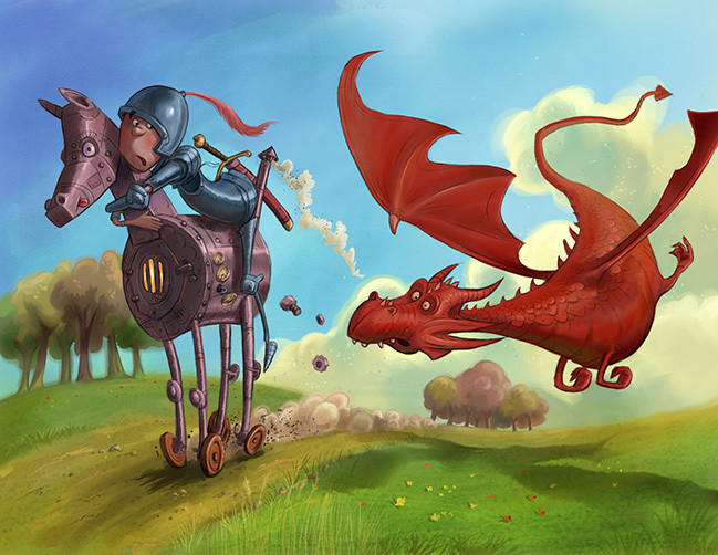 colorful childrens book illustration of dragon chasing knight by Andy Catling
