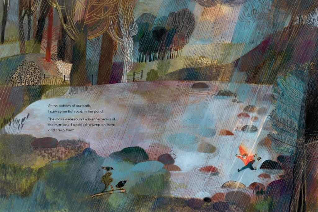 rainy day childrens book illustration by Beatrice Alemagna