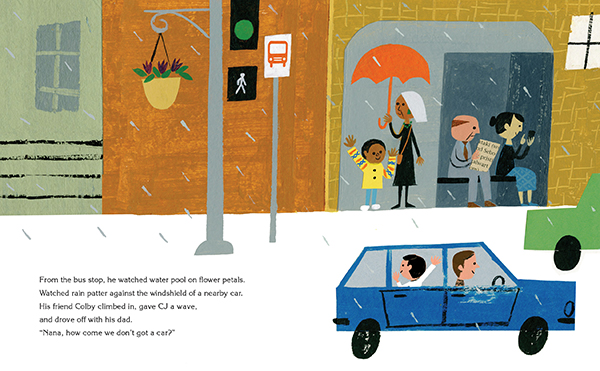 children's book illustration of kids waving to each other on the road