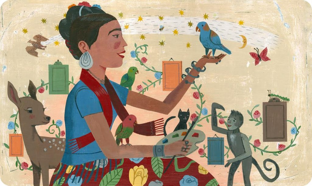 John Parra colorful illustration of Frida Kahlo and animals