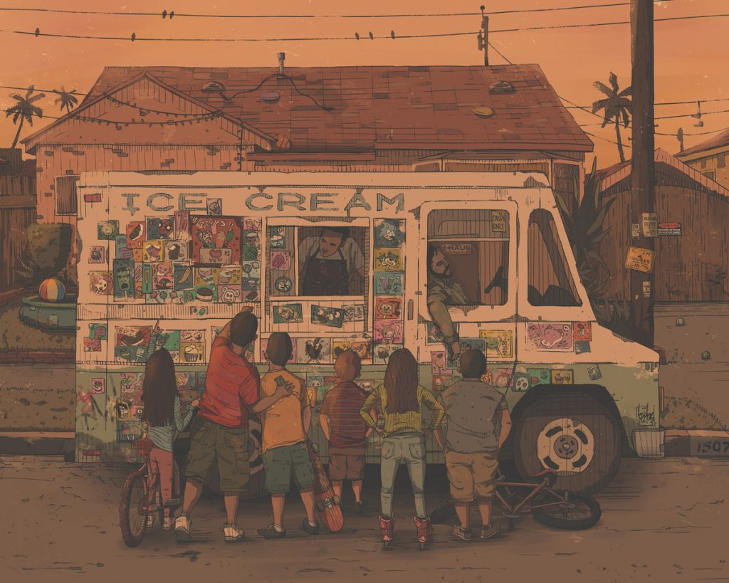 realistic illustration of children buying from an ice cream truck by John Lee