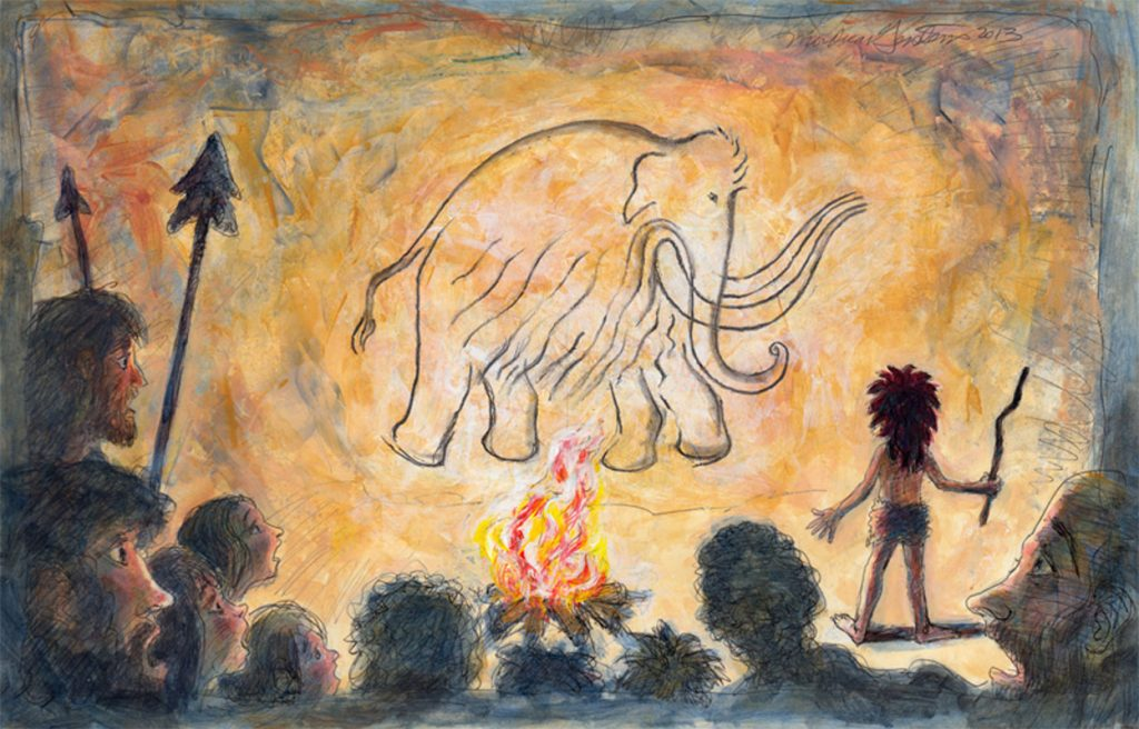 the first drawing of a mammoth by a caveman by illustrator Mordicai Gerstein