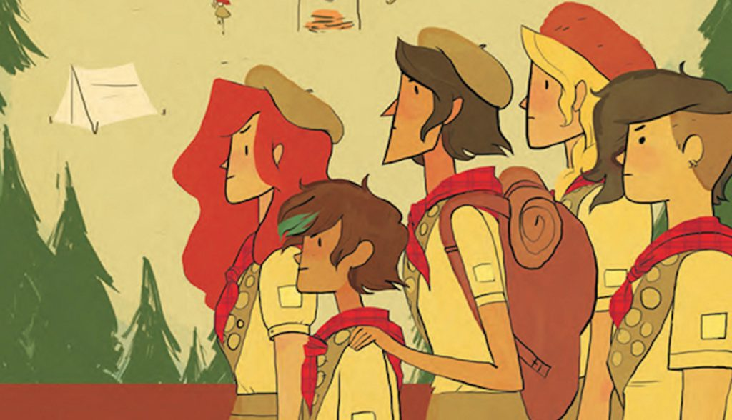 illustration of Lumberjanes girl scouts going camping by Noelle Stevenson