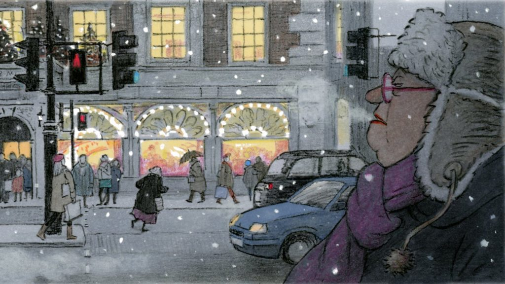 graphic novel art of Cassandra Darke watching the winter street