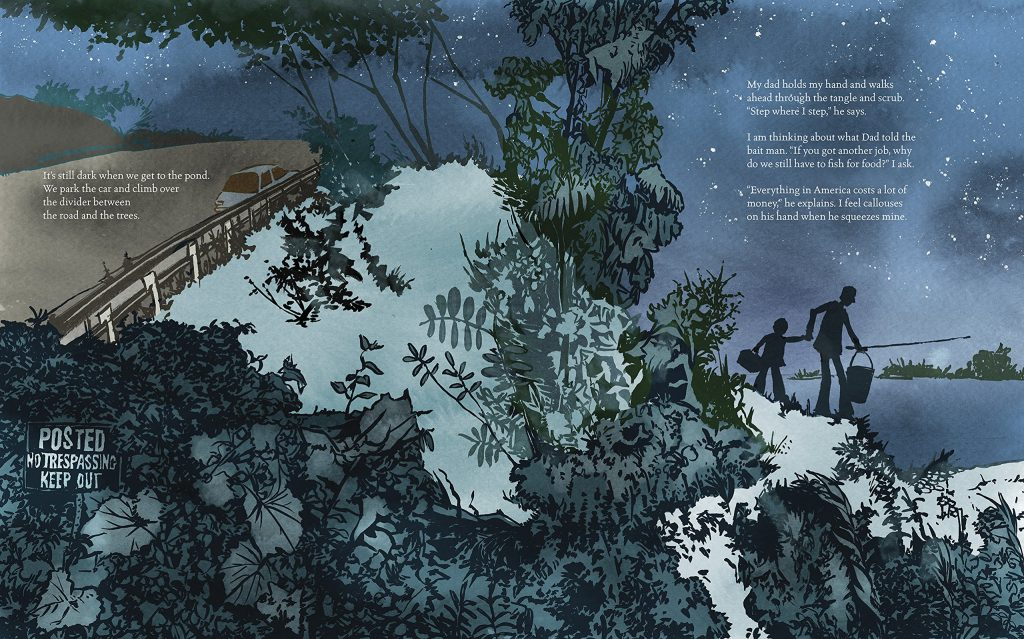 night sky illustration by Thi Bui in A Different Pond