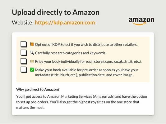 Ebook distribution | Upload your ebook directly to Amazon