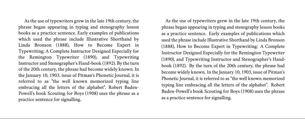 book format spacing