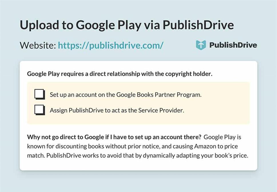 Ebook distribution | Upload to Google Play via PublishDrive