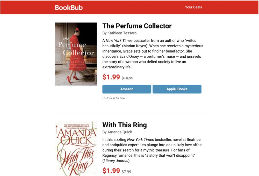bookbub newsletter example