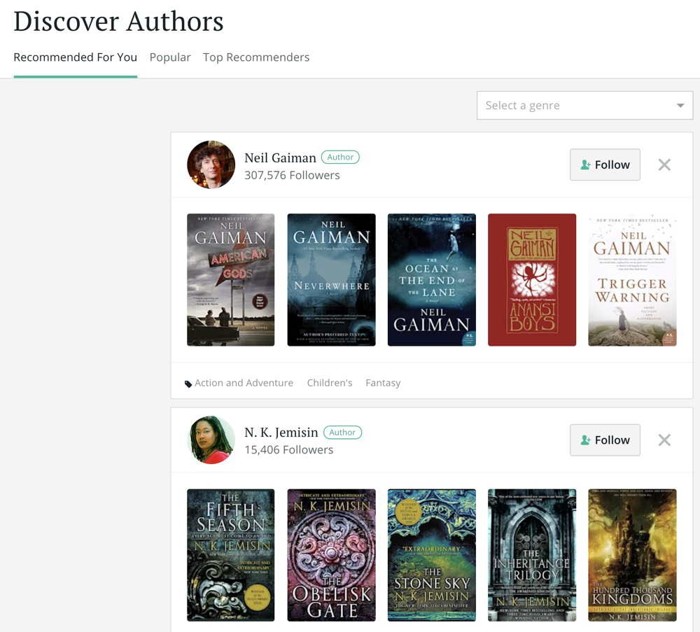 Bookbub author profile page example