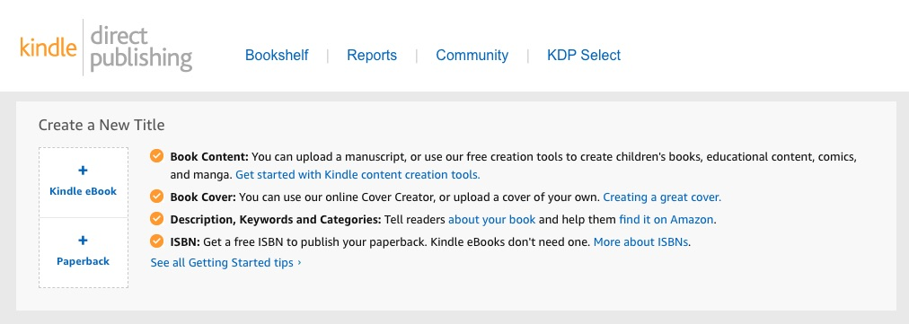 Guide to Kindle Direct Publishing | KDP's homepage interface