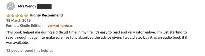 user review on Amazon. How to market a non-fiction book
