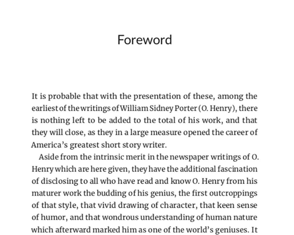 Parts of a Book | Florence Stratton's Foreword to Postscripts, by O. Henry