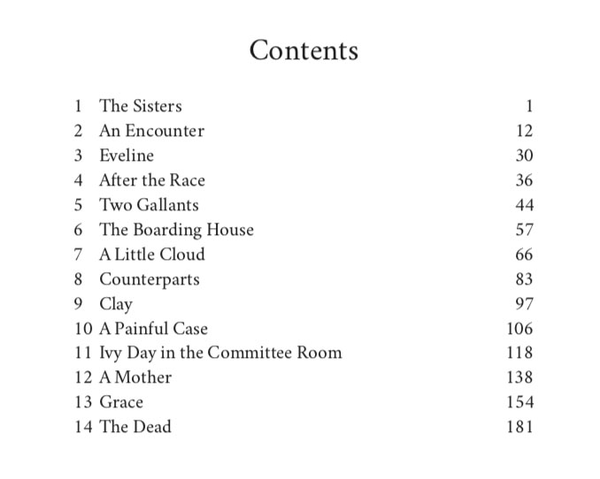 Parts of a Book | Table of Contents to Dubliners, by James Joyce