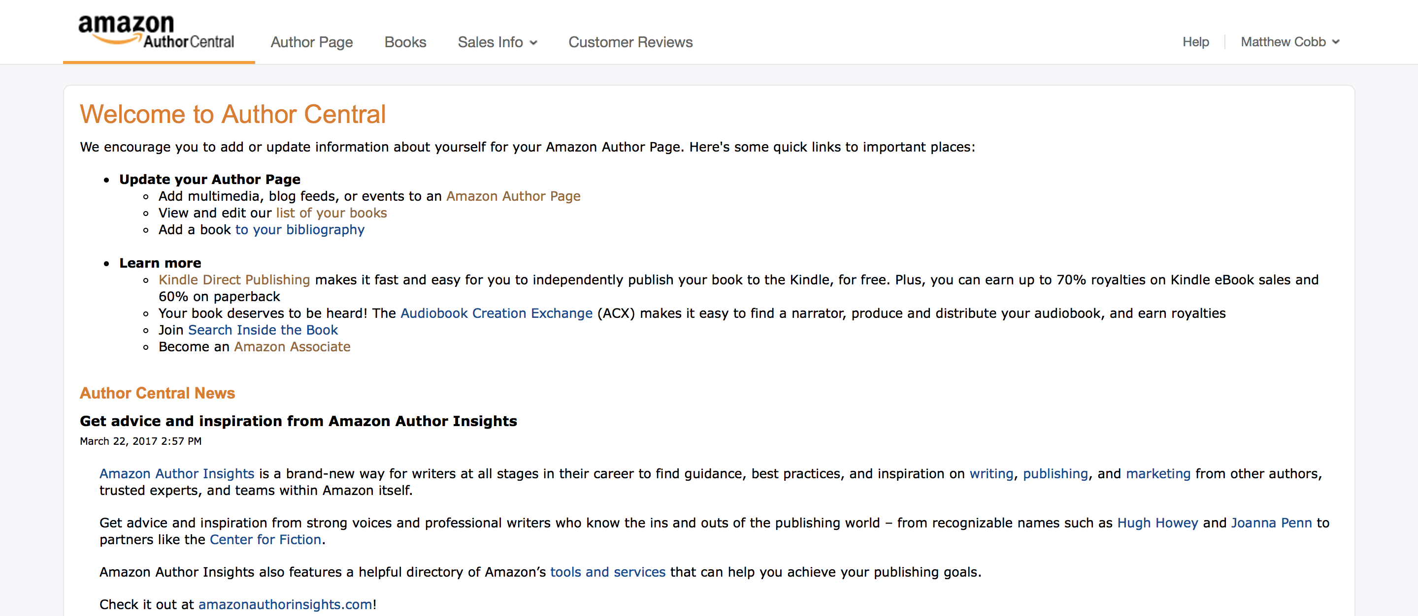 Amazon Author Central | Author Central Dashboard