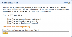Amazon Author Central | Add an RSS Feed