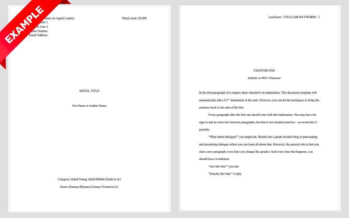 Manuscript Format   Example Book Manuscript