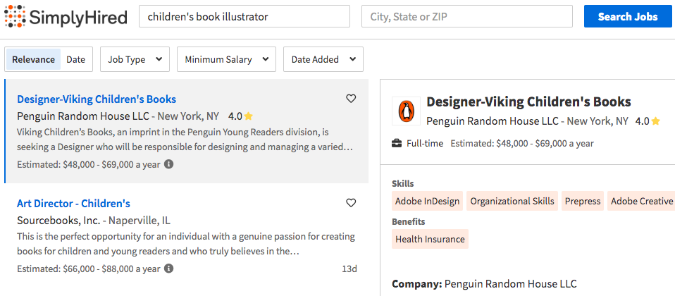 children's book illustrator jobs on simplyhired
