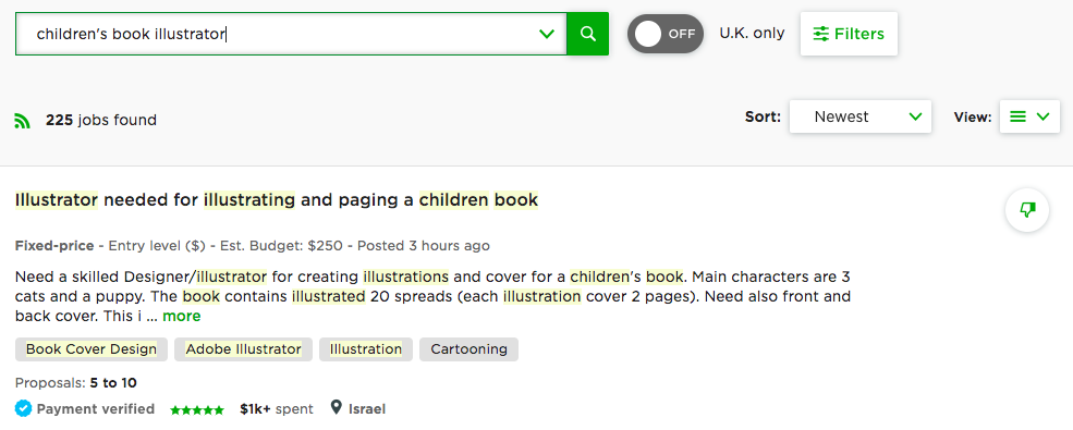 children's book illustrator jobs on upwork