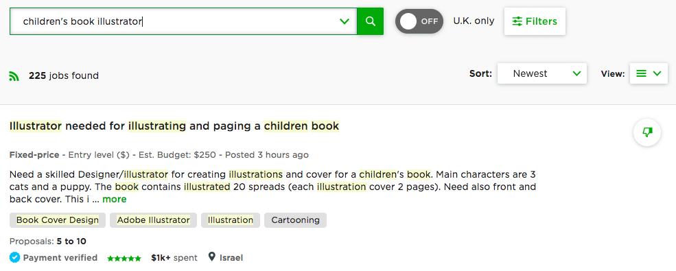 children's book illustrator jobs on upwork