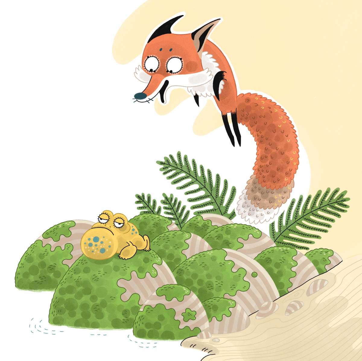 a fox leaping out of the pages of a children's book