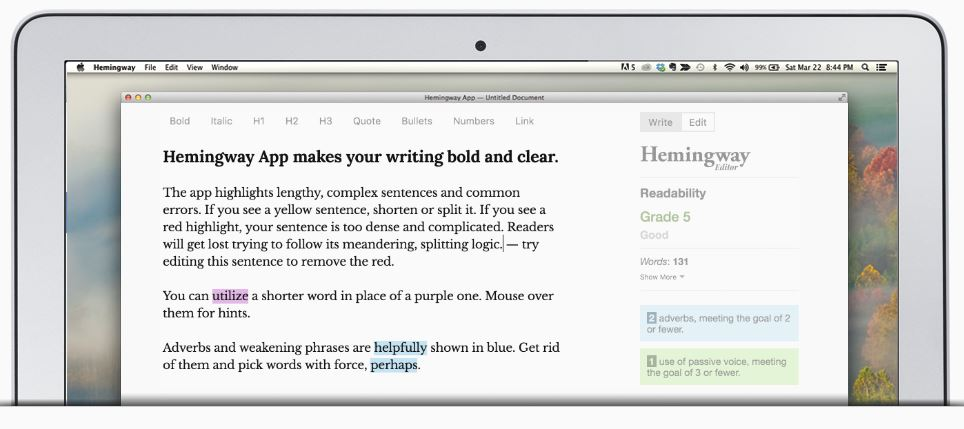 The Hemingway App for desktops