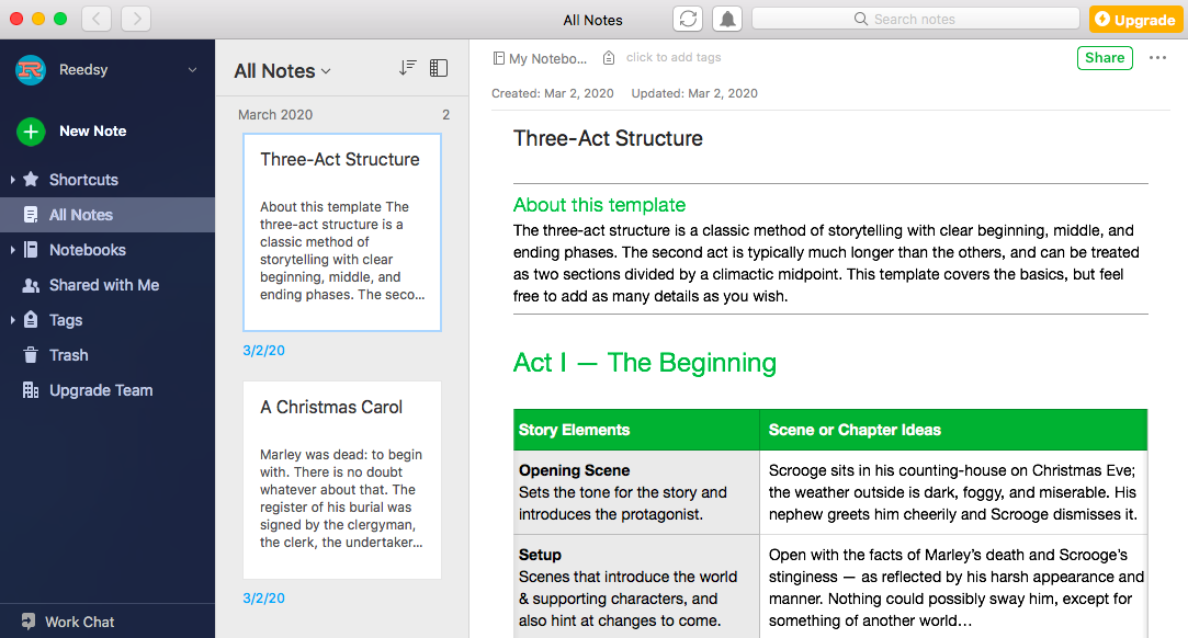 writing apps evernote