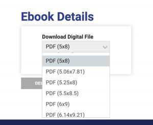 draft2digital Reviews | drop-down menu of trim sizes