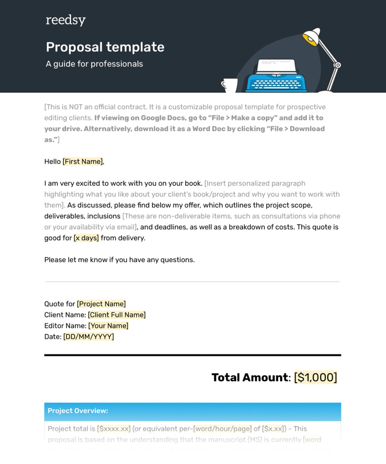 Editor Freelance Proposal Template