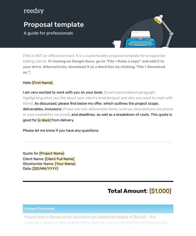 Ghostwriter Freelance Proposal Template