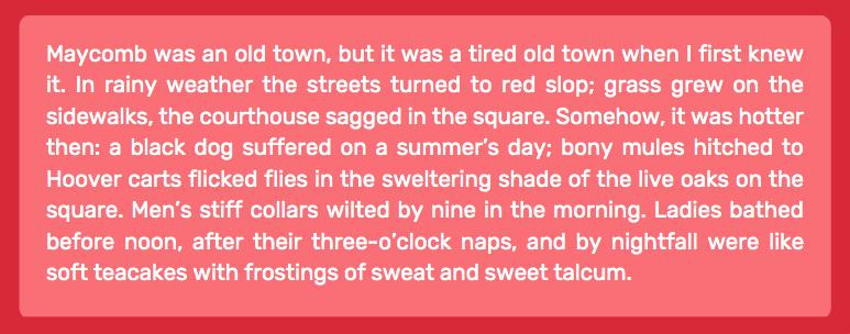 setting of a story - to kill a mockingbird